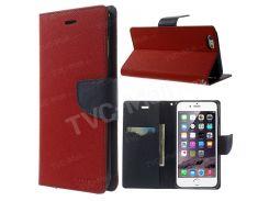 Ртутный GOOSPERY Модный Кожаный Чехол Для Кошелька Для Iphone 6 Plus / 6 С Плюс Стенд - Красный