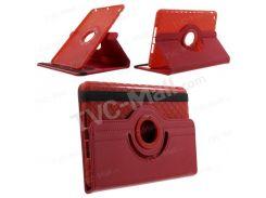 Твил зерно кожаный чехол ж/ 360 градусов вращательного Подставка для iPad мини / Мини 2 / Мини 3 - красный