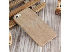 Wood Pattern Leather Skin PC Hard Cover for iPhone SE 5s 5 - Brown