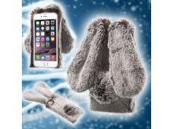 Мягкий Теплый Кролик Пушистый Мех ТПУ Задний Чехол Для Iphone 6s 6 4.7 - Коричневый