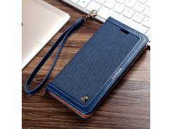 CMAI2 Jeans Cloth Leather Stand Card Slots Mobile Case for iPhone 8 Plus / 7 Plus - Black Blue