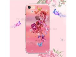 KINGXBAR Pretty Series Diamond Embossment TPU Mobile Cover for iPhone 8 / iPhone 7 - Butterfly