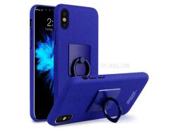 IMAK Для Яблока Iphone X 5.8-дюймовый Держатель Для Ключей С Подставкой Для Штепсельной Розетки + Защитная Пленка Для Экрана - Синий
