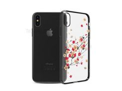 KINGXBAR Authorized Swarovski Crystal Plated PC Back Cover for iPhone X 5.8 Inch - Cherry Blossom / Black