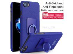 IMAK ковбой кольцо стенд жесткий мобильный корпус для iPhone 8 / 7 4.7 дюймов + пленка - синий