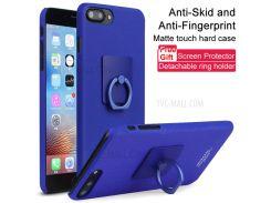 IMAK Ковбой PC Мобильный Чехол С Кольцевой Подставкой + Экранная Пленка Для Iphone 8 Plus / 7 Плюс 5,5 Дюймов - Синий