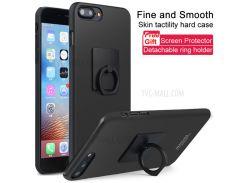 IMAK Ковбой PC Оболочка С Кольцевой Подставкой + Экранная Пленка Для Iphone 8 Plus / 7 Плюс 5,5 Дюймов - Металлический Черный