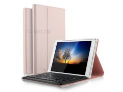 Ultra-thin PU Leather Bluetooth Keyboard Stand Case for Lenovo Tab 4 8 Plus - Rose Gold Color