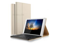 Ultra-thin PU Leather Bluetooth Keyboard Cover with Stand for Lenovo Tab 4 8 Plus - Gold Color