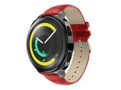 Crocodile Texture Genuine Leather Watch Wrist Band for Samsung Galaxy Gear Sport - Red