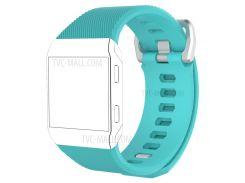 Металлическая Пряжка Твил Pattern Силиконовый Мягкий Наручные Часы Замена Группы Для Fitbit Ионной - Голубой / Размер: S