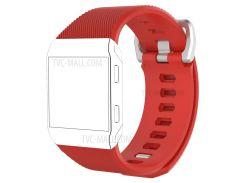Металлическая Пряжка Гибкая Саржа Модель Силиконовый Ремешок Для Замены Для Fitbit Ионный - Красный / Размер: S