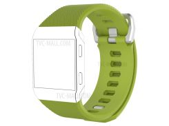 Flexible Twill Pattern Silicone Watch Band Replacement with Metal Buckle for Fitbit Ionic - Green / Size: L