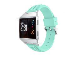 Прохладный Шин Мягкий Силиконовый Регулируемый Ремешок С Разъемом Для Fitbit Ионной - Голубой