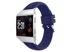 Круглая Шина Модель Регулируемая Замена Спортивный Ремень Силиконовая Лента Для Fitbit Ионная - Синий