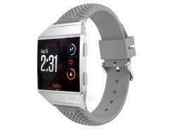 Круглая Шина Модель Мягкий Силиконовый Ремешок Для Часов С Разъемом Для Fitbit Ионный - Серый