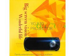 YG320 Мини-проектор 1080P HD Портативный Светодиодный Проектор Домашний Кинотеатр - Черный / Соединенное Гнездо