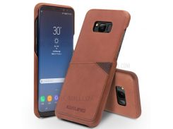 QIALINO Card Holder Cowhide Leather Coated PC Mobile Case for Samsung Galaxy S8 G950 - Brown