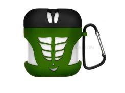 Анти-потерянный Силиконовый Гелевый Защитный Кожух Для Зарядного Устройства Apple Airpods - Зеленый / Черный