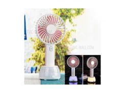 2000mah Портативный USB-вентилятор Охлаждения 3 Регулируемые Скорости Портативный Мини-вентилятор С Лампой Атмосферы - Розовый