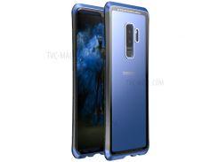 LUPHIE Противоударное Закаленное Стекло + PC + Металлическая Оболочка Корпуса Для Галактики Samsung S9 Plus G965 - Синий