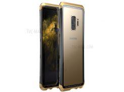 LUPHIE Закаленное Закаленное Стекло + ПК + Металлическая Крышка Для Мобильного Телефона Для Галактики Samsung S9 G960 - Золото