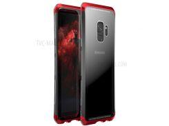 LUPHIE Закаленное Закаленное Стекло + ПК + Металлическая Крышка Для Мобильного Телефона Для Галактики Samsung S9 G960 - Красный