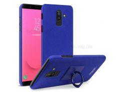 IMAK Штыревая Штейновая Кожа ПК Защитная Оболочка Телефона + Защитная Пленка Для Галактики Samsung J8 (2018) J800F - Синий