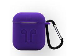 4-в-1 Пылезащитный Противоударный Силиконовый Чехол Для Зарядного Устройства Apple Airpods С Крючком, Брелками И Противовзломным Ремнем - Пурпурный