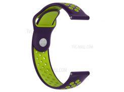 Двухцветный Силиконовый Полый Браслет Для Часов Huami Amazfit Watch 2/1 - Пурпурный / Зеленый