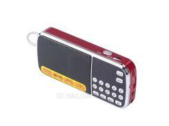 L-088 Мини Цифровой AM FM Радио Поддержка Динамика Micro SD / TF USB Диск Со Светодиодным Фонариком - Красный / Серебряный Цвет