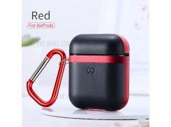 XUNDD Бак Серии Защитный Чехол Для Зарядки Apple Airpods Чехол С Карабином - Черный / Красный