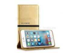KLD Elegant Leather Wallet Flip Phone Case for iPhone 8 Plus / 7 Plus with Stand - Gold