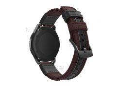 Для Samsung Gear S3 Classic / S3 Frontier / Galaxy Часы 46 Мм Холст + Ремешок Из Натуральной Кожи Ремешок Из Нейлона Для Спортивных Ремешков - Коричневый
