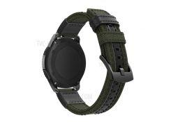 Для Samsung Gear S3 Classic / S3 Frontier / Galaxy Часы 46 Мм Холст + Ремешок Из Натуральной Кожи Ремешок Из Нейлона Для Спортивных Ремешков - Армейский Зеленый