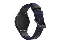 Для Samsung Gear S3 Classic / S3 Frontier / Galaxy Часы 46 Мм Холст + Ремешок Из Натуральной Кожи Ремешок Из Нейлона Спортивный Ремешок Для Часов Ремешок - Синий