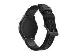 Для Samsung Gear S3 Classic / S3 Frontier / Galaxy Часы 46 Мм Холст + Ремешок Из Натуральной Кожи Ремешок Из Нейлона Для Спортивных Ремешков - Черный