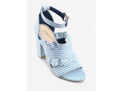 Ankle Strap Ruffles Striped Block Heel Sandals