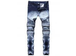 Knee Stars Zipper Biker Skinny Jeans