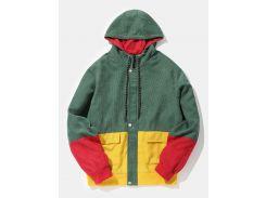 Color Block Patchwork Corduroy Hooded Jacket