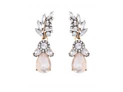 Water Drop Leaf Rhinestone Earrings