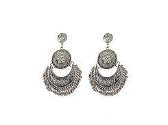Vintage Engraved Flower Beads Moon Earrings