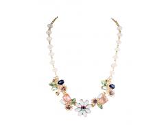 Faux Gem Flower Necklace