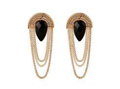 Faux Gem Drop Tassel Chains Earrings