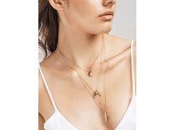 Rhinestone Moon Leaf Pendant Layered Necklace