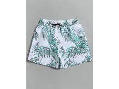 Drawstring Leaf Print Beach Board Shorts