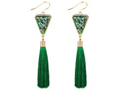Triangle Shape Crystal Embellished Fringed Drop Earrings