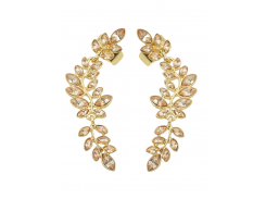Fake Crystal Leaf Shape Ear Cuffs