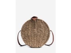 Vintage Straw Holiday Round Crossbody Bag
