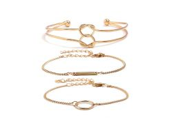 Love Heart Knot Chain Alloy Bracelets Set